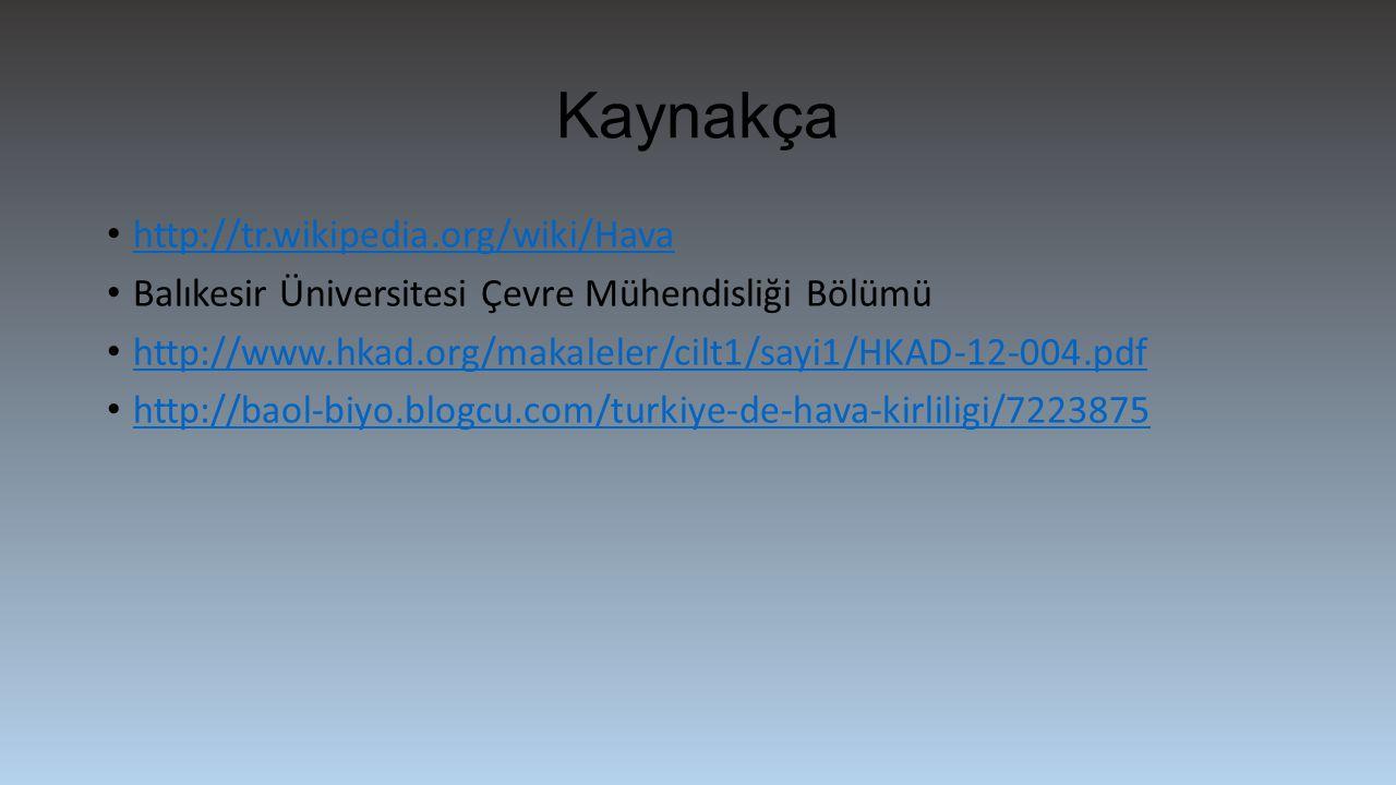 Kaynakça http://tr.wikipedia.org/wiki/Hava Balıkesir Üniversitesi Çevre Mühendisliği Bölümü http://www.hkad.org/makaleler/cilt1/sayi1/HKAD-12-004.pdf http://baol-biyo.blogcu.com/turkiye-de-hava-kirliligi/7223875