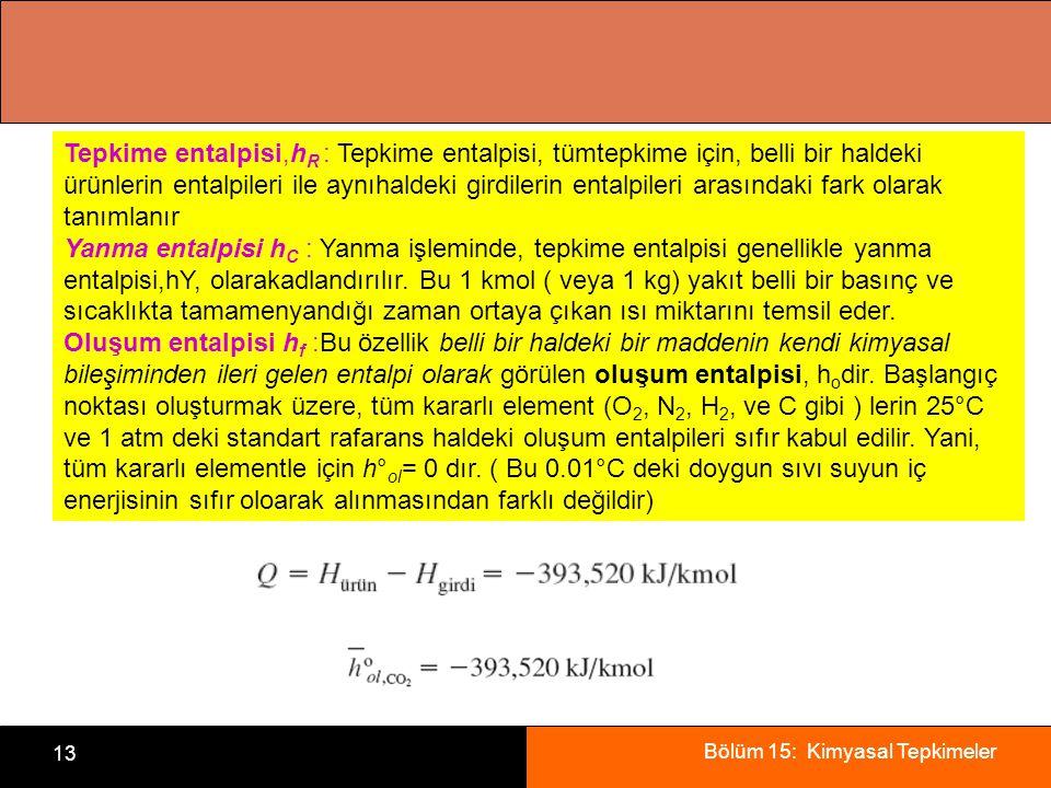Bölüm 15: Kimyasal Tepkimeler 13 Tepkime entalpisi,h R : Tepkime entalpisi, tümtepkime için, belli bir haldeki ürünlerin entalpileri ile aynıhaldeki g