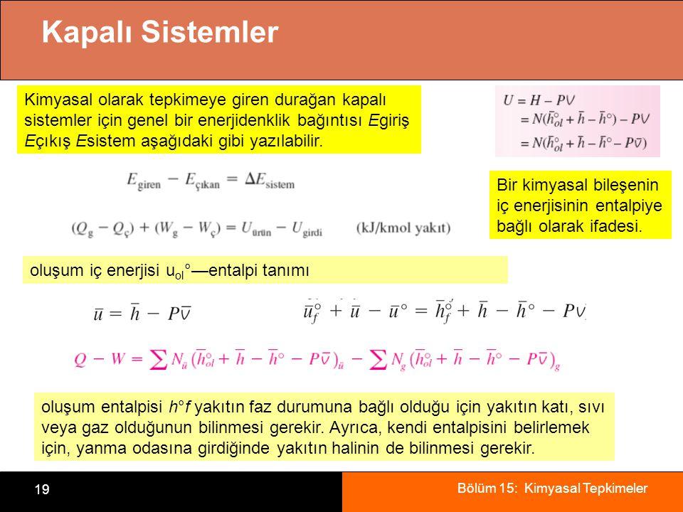 Bölüm 15: Kimyasal Tepkimeler 19 Kapalı Sistemler Kimyasal olarak tepkimeye giren durağan kapalı sistemler için genel bir enerjidenklik bağıntısı Egir