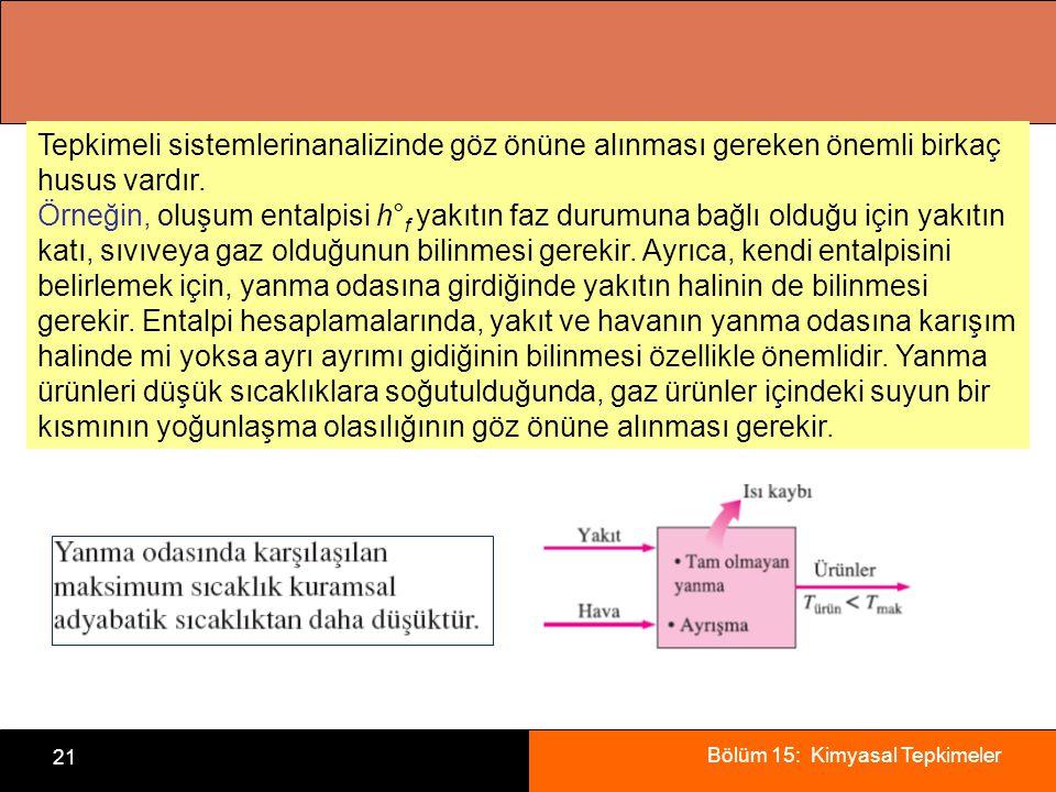 Bölüm 15: Kimyasal Tepkimeler 21 Tepkimeli sistemlerinanalizinde göz önüne alınması gereken önemli birkaç husus vardır. Örneğin, oluşum entalpisi h° f