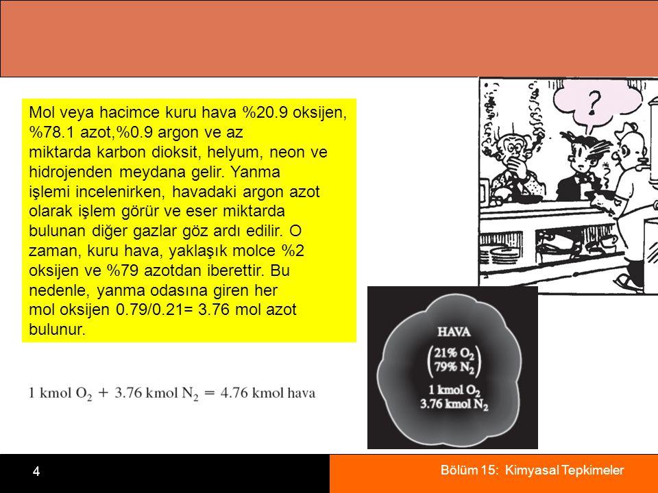 Bölüm 15: Kimyasal Tepkimeler 4 Mol veya hacimce kuru hava %20.9 oksijen, %78.1 azot,%0.9 argon ve az miktarda karbon dioksit, helyum, neon ve hidroje