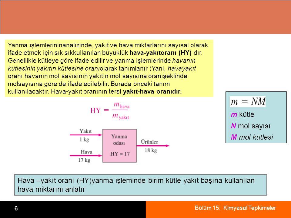 Bölüm 15: Kimyasal Tepkimeler 6. Yanma işlemlerininanalizinde, yakıt ve hava miktarlarını sayısal olarak ifade etmek için sık sıkkullanılan büyüklük h