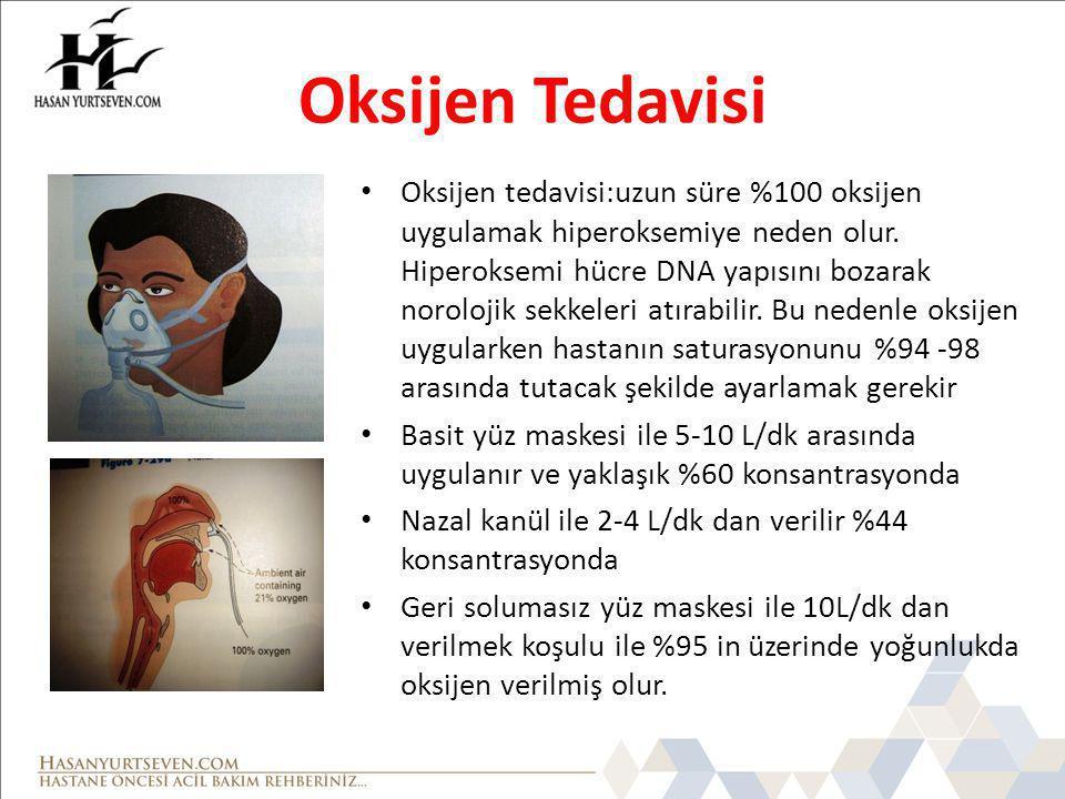 Oksijen Tedavisi Oksijen tedavisi:uzun süre %100 oksijen uygulamak hiperoksemiye neden olur.