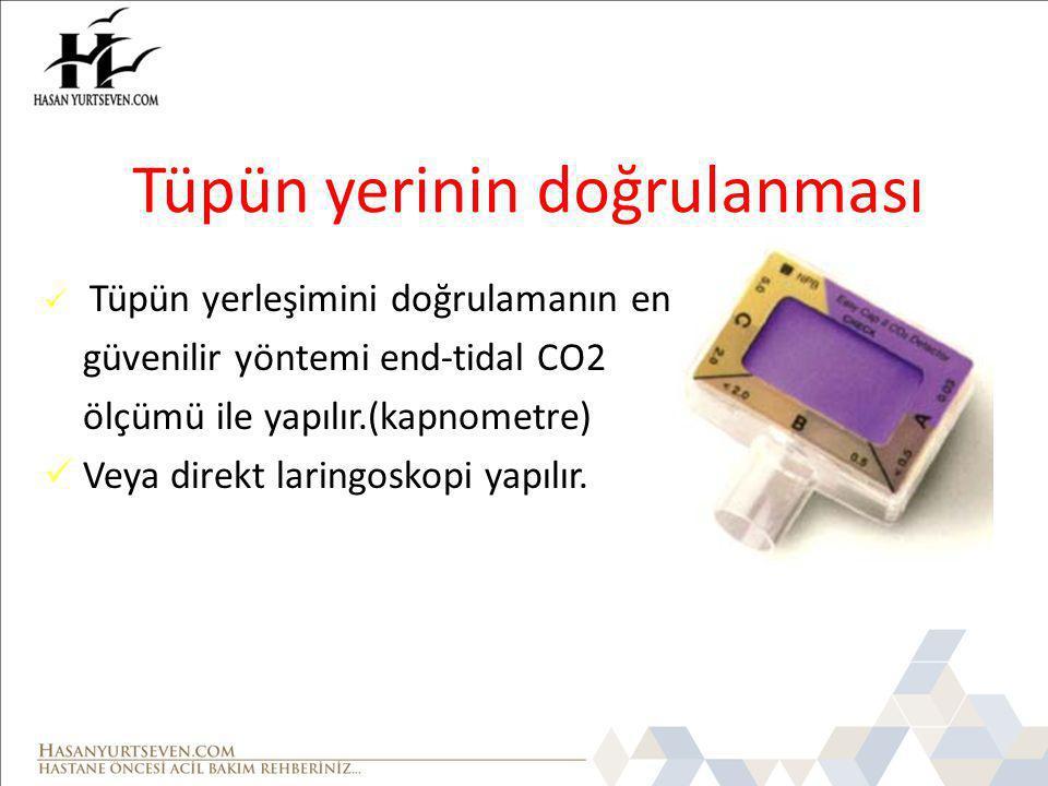 Tüpün yerinin doğrulanması Tüpün yerleşimini doğrulamanın en güvenilir yöntemi end-tidal CO2 ölçümü ile yapılır.(kapnometre) Veya direkt laringoskopi