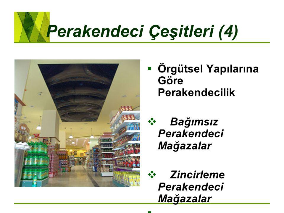 Perakendeci Çeşitleri (4)  Örgütsel Yapılarına Göre Perakendecilik  Bağımsız Perakendeci Mağazalar  Zincirleme Perakendeci Mağazalar 