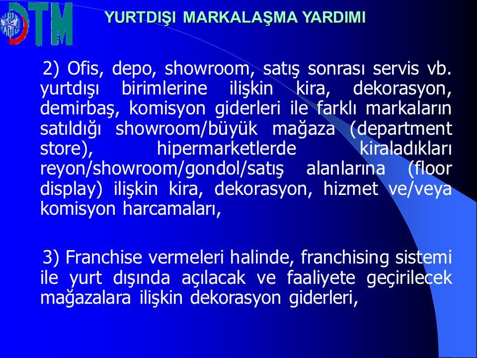2) Ofis, depo, showroom, satış sonrası servis vb.