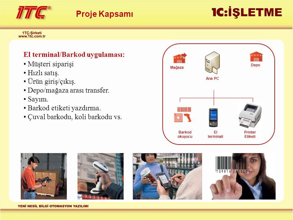 Proje Kapsamı El terminal/Barkod uygulaması: Müşteri siparişi Hızlı satış. Ürün giriş/çıkış. Depo/mağaza arası transfer. Sayım. Barkod etiketi yazdırm