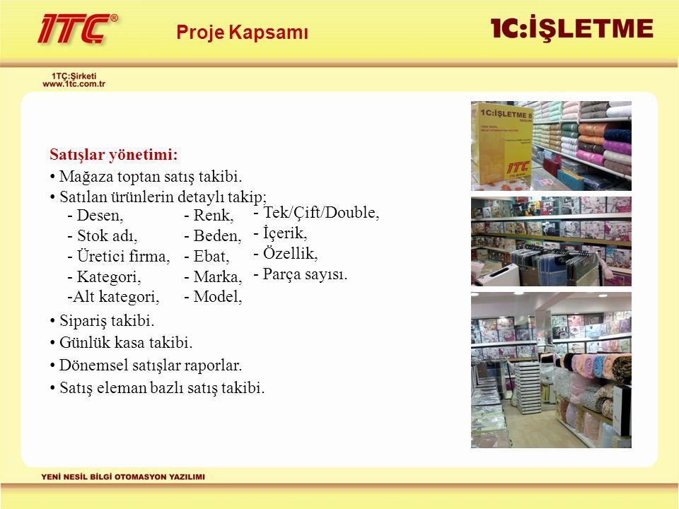 Proje Kapsamı Satışlar yönetimi: Mağaza toptan satış takibi. Satılan ürünlerin detaylı takip; - Desen, - Stok adı, - Üretici firma, - Kategori, -Alt k