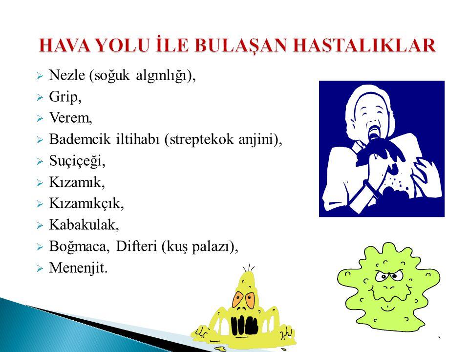  Nezle (soğuk algınlığı),  Grip,  Verem,  Bademcik iltihabı (streptekok anjini),  Suçiçeği,  Kızamık,  Kızamıkçık,  Kabakulak,  Boğmaca, Difteri (kuş palazı),  Menenjit.