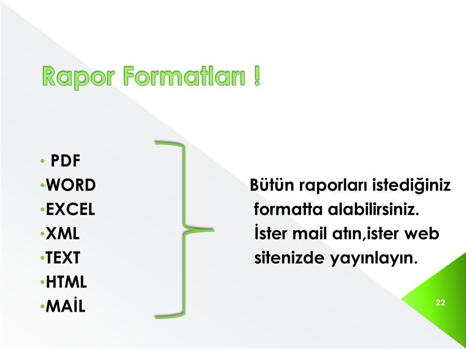 PDF WORDBütün raporları istediğiniz EXCEL formatta alabilirsiniz. XML İster mail atın,ister web TEXT sitenizde yayınlayın. HTML MAİL 22