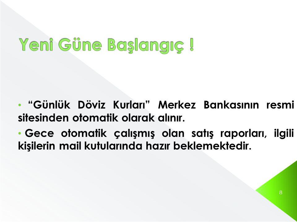Günlük Döviz Kurları Merkez Bankasının resmi sitesinden otomatik olarak alınır.