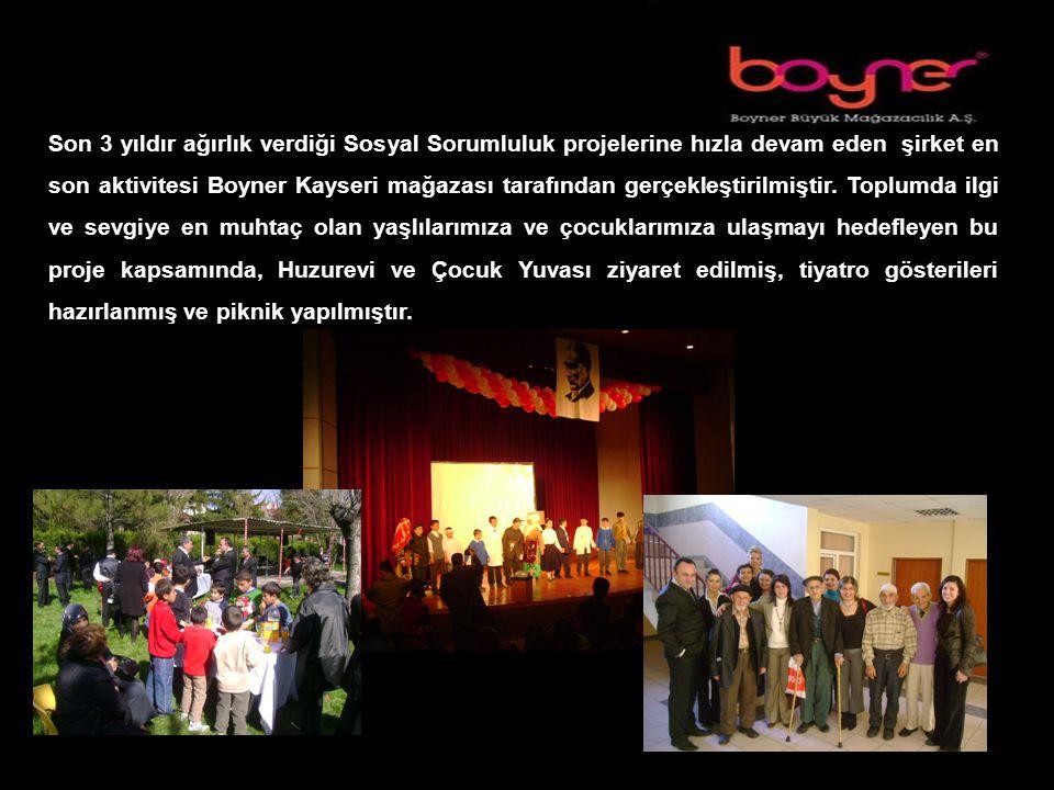 SOSYAL SORUMLULUK PROJELERİMİZ Son 3 yıldır ağırlık verdiği Sosyal Sorumluluk projelerine hızla devam eden şirket en son aktivitesi Boyner Kayseri mağazası tarafından gerçekleştirilmiştir.