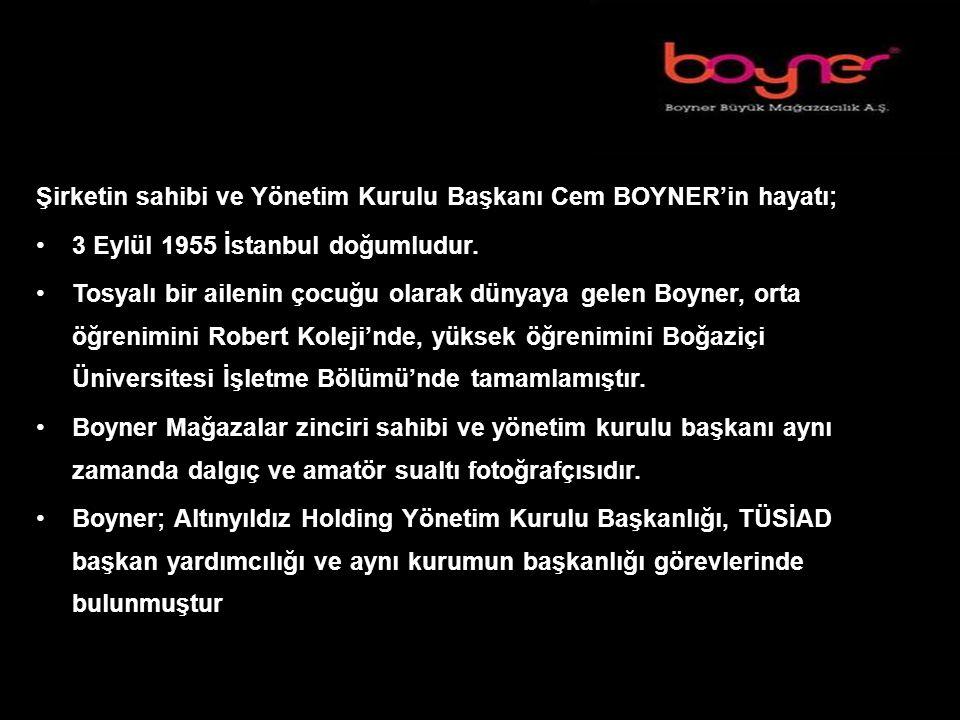 Şirketin sahibi ve Yönetim Kurulu Başkanı Cem BOYNER'in hayatı; 3 Eylül 1955 İstanbul doğumludur.