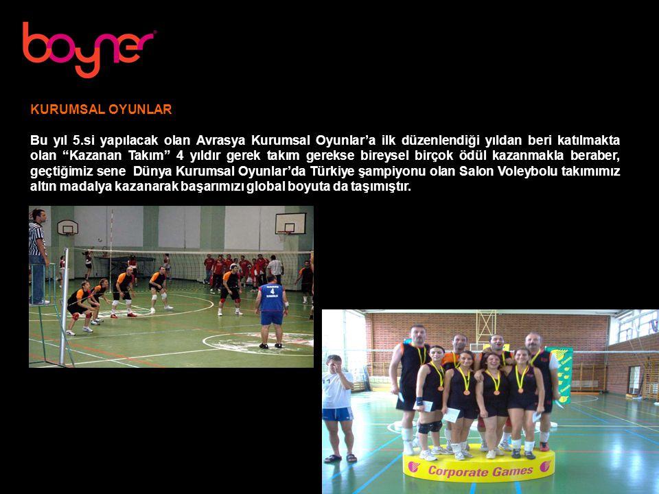 KURUMSAL OYUNLAR Bu yıl 5.si yapılacak olan Avrasya Kurumsal Oyunlar'a ilk düzenlendiği yıldan beri katılmakta olan Kazanan Takım 4 yıldır gerek takım gerekse bireysel birçok ödül kazanmakla beraber, geçtiğimiz sene Dünya Kurumsal Oyunlar'da Türkiye şampiyonu olan Salon Voleybolu takımımız altın madalya kazanarak başarımızı global boyuta da taşımıştır.