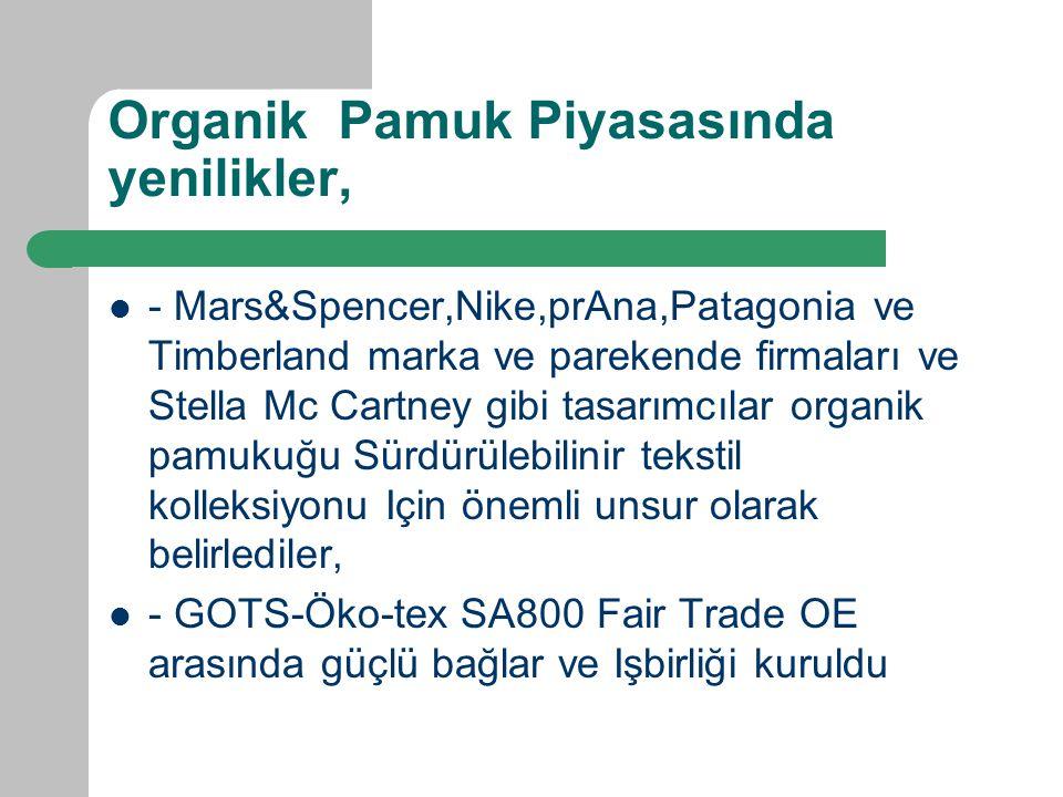 Organik Pamuk Piyasasında yenilikler, - Mars&Spencer,Nike,prAna,Patagonia ve Timberland marka ve parekende firmaları ve Stella Mc Cartney gibi tasarımcılar organik pamukuğu Sürdürülebilinir tekstil kolleksiyonu Için önemli unsur olarak belirlediler, - GOTS-Öko-tex SA800 Fair Trade OE arasında güçlü bağlar ve Işbirliği kuruldu