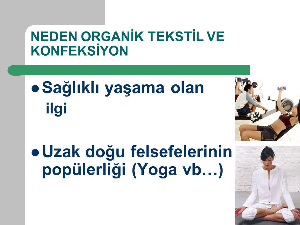 NEDEN ORGANİK TEKSTİL VE KONFEKSİYON Sağlıklı yaşama olan ilgi Uzak doğu felsefelerinin popülerliği (Yoga vb…)