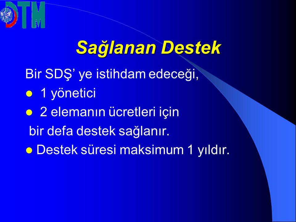 Sağlanan Destek Bir SDŞ' ye istihdam edeceği, 1 yönetici 2 elemanın ücretleri için bir defa destek sağlanır. Destek süresi maksimum 1 yıldır.