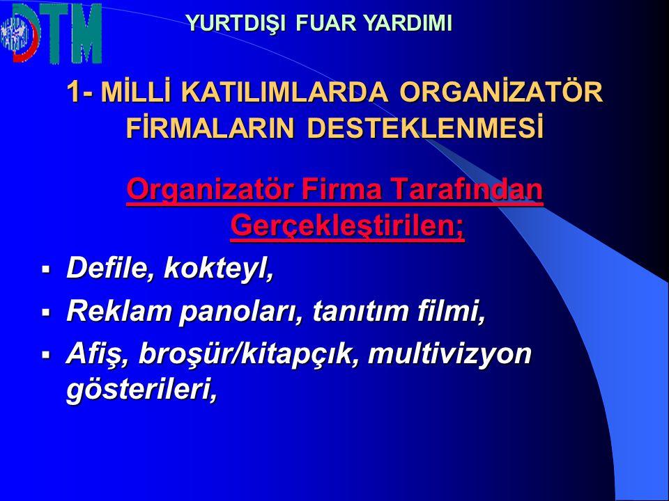 1- MİLLİ KATILIMLARDA ORGANİZATÖR FİRMALARIN DESTEKLENMESİ Organizatör Firma Tarafından Gerçekleştirilen;  Defile, kokteyl,  Reklam panoları, tanıtı