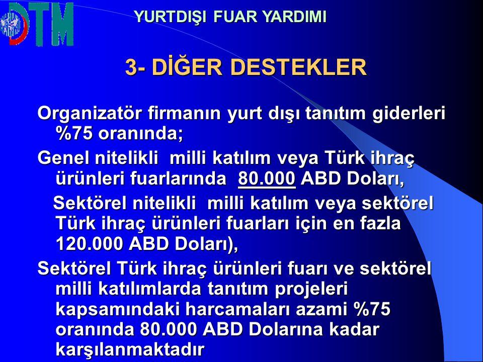 3- DİĞER DESTEKLER Organizatör firmanın yurt dışı tanıtım giderleri %75 oranında; Genel nitelikli milli katılım veya Türk ihraç ürünleri fuarlarında 8