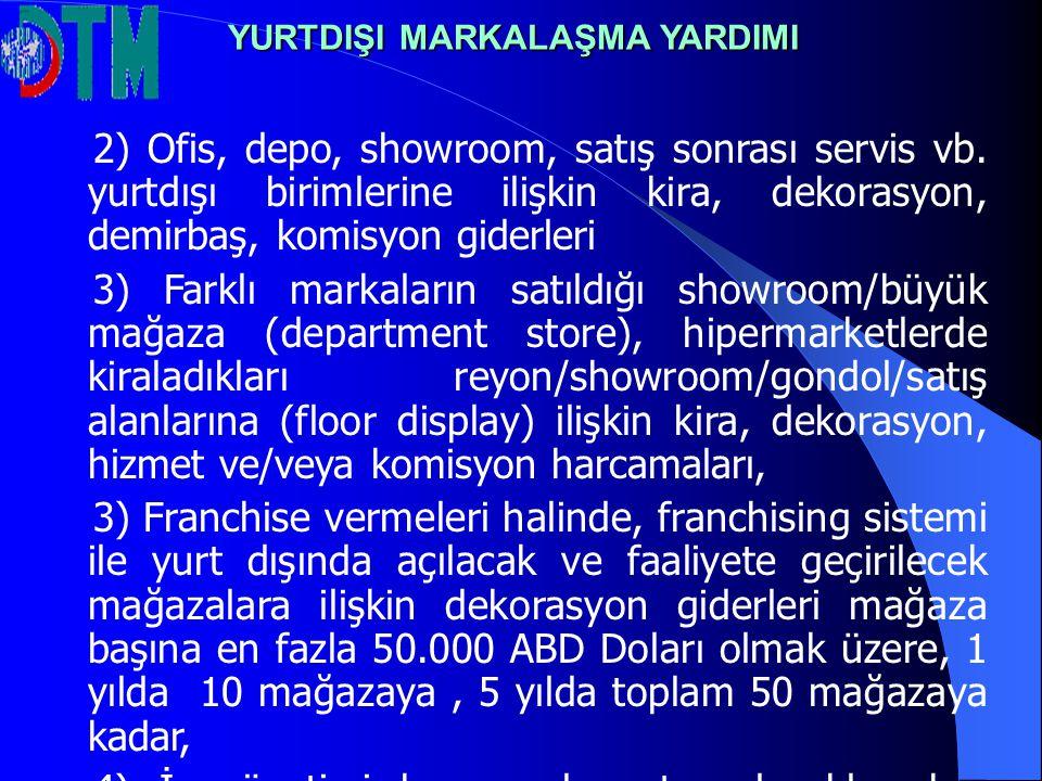 2) Ofis, depo, showroom, satış sonrası servis vb. yurtdışı birimlerine ilişkin kira, dekorasyon, demirbaş, komisyon giderleri 3) Farklı markaların sat