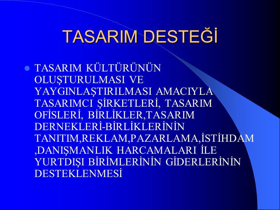 TASARIM DESTEĞİ TASARIM KÜLTÜRÜNÜN OLUŞTURULMASI VE YAYGINLAŞTIRILMASI AMACIYLA TASARIMCI ŞİRKETLERİ, TASARIM OFİSLERİ, BİRLİKLER,TASARIM DERNEKLERİ-B