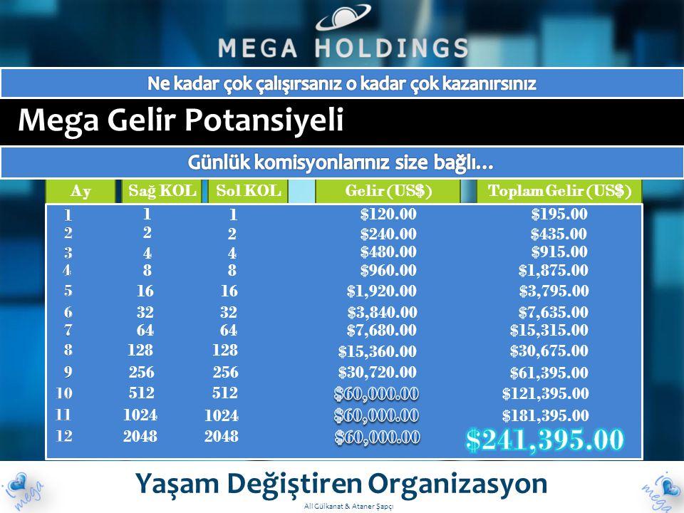 Mega Gelir Potansiyeli Yaşam Değiştiren Organizasyon Ay Sa ğ KOL Sol KOLGelir (US$)Toplam Gelir (US$) $181,395.00 $195.00 $435.00 $915.00 $1,875.00 $3