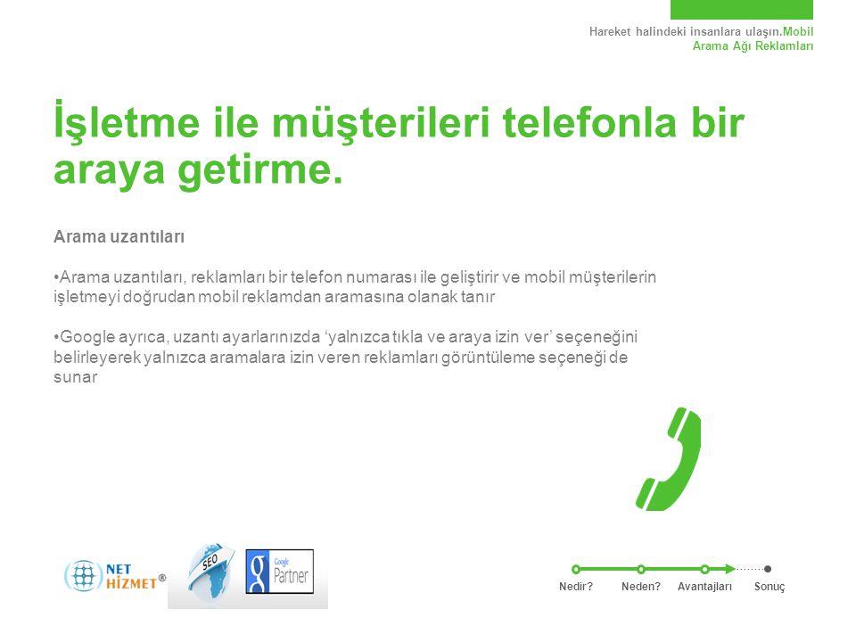 Hareket halindeki insanlara ulaşın.Mobil Arama Ağı Reklamları İşletme ile müşterileri telefonla bir araya getirme. Arama uzantıları Arama uzantıları,