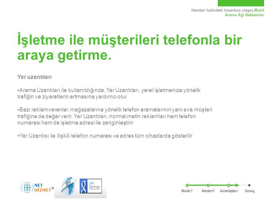 Hareket halindeki insanlara ulaşın.Mobil Arama Ağı Reklamları İşletme ile müşterileri telefonla bir araya getirme.