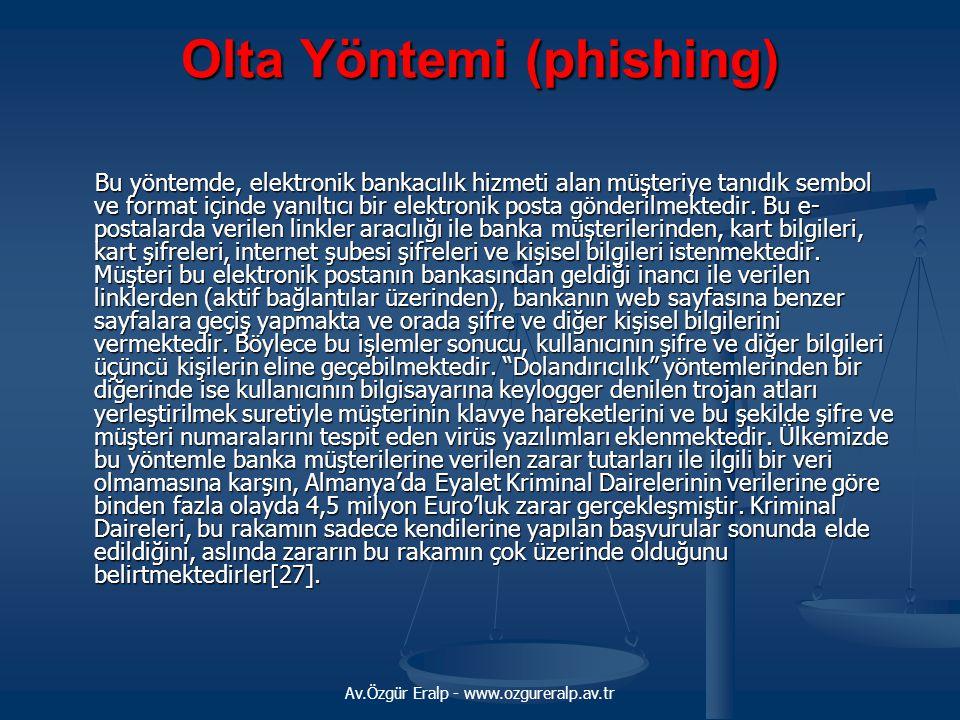 Av.Özgür Eralp - www.ozgureralp.av.tr Olta Yöntemi (phishing) Bu yöntemde, elektronik bankacılık hizmeti alan müşteriye tanıdık sembol ve format içind
