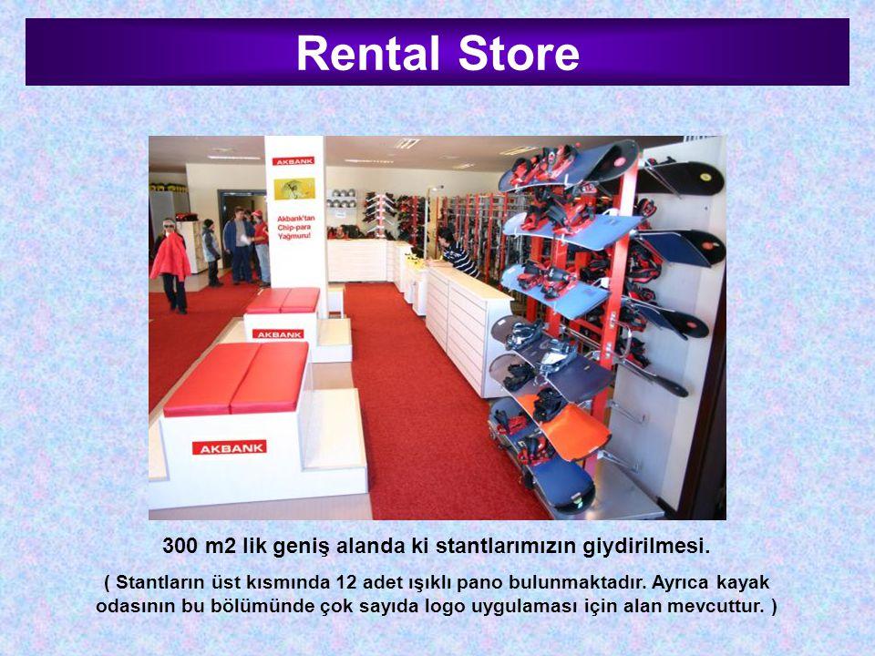 Rental Store 300 m2 lik geniş alanda ki stantlarımızın giydirilmesi. ( Stantların üst kısmında 12 adet ışıklı pano bulunmaktadır. Ayrıca kayak odasını