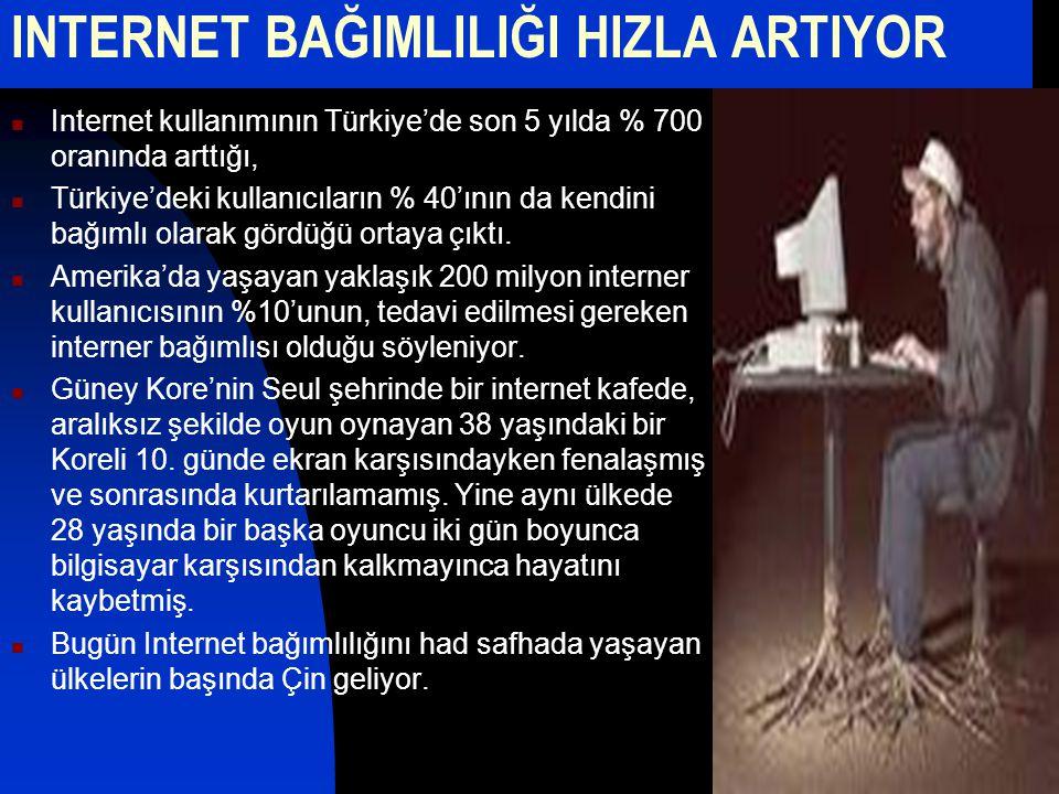 INTERNET BAĞIMLILIĞI HIZLA ARTIYOR Internet kullanımının Türkiye'de son 5 yılda % 700 oranında arttığı, Türkiye'deki kullanıcıların % 40'ının da kendi