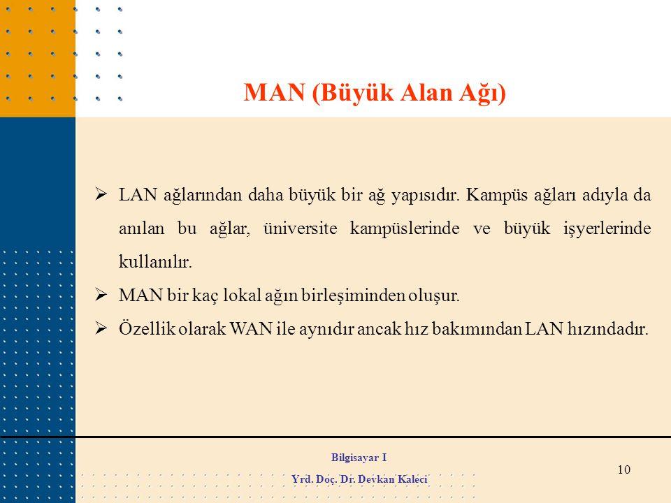 10 MAN (Büyük Alan Ağı)  LAN ağlarından daha büyük bir ağ yapısıdır. Kampüs ağları adıyla da anılan bu ağlar, üniversite kampüslerinde ve büyük işyer