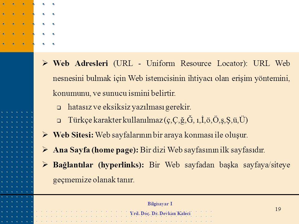19  Web Adresleri (URL - Uniform Resource Locator): URL Web nesnesini bulmak için Web istemcisinin ihtiyacı olan erişim yöntemini, konumunu, ve sunuc