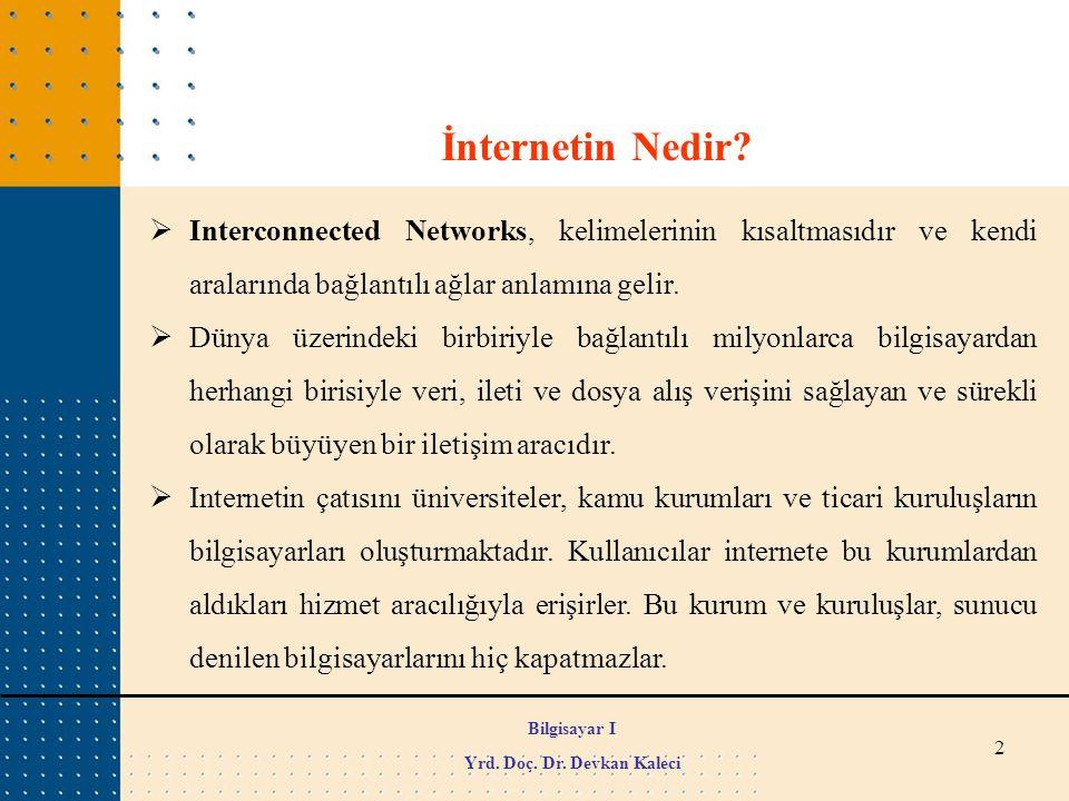 2 Bilgisayar I Yrd. Doç. Dr. Devkan Kaleci İnternetin Nedir?  Interconnected Networks, kelimelerinin kısaltmasıdır ve kendi aralarında bağlantılı ağl