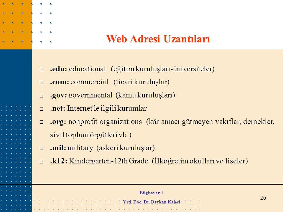 20 Web Adresi Uzantıları .edu: educational (eğitim kuruluşları-üniversiteler) .com: commercial (ticari kuruluşlar) .gov: governmental (kamu kuruluş