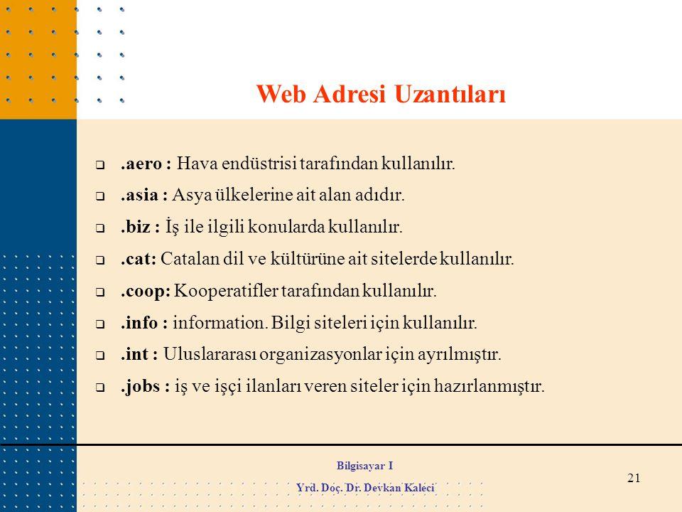 21 Web Adresi Uzantıları .aero : Hava endüstrisi tarafından kullanılır. .asia : Asya ülkelerine ait alan adıdır. .biz : İş ile ilgili konularda kul