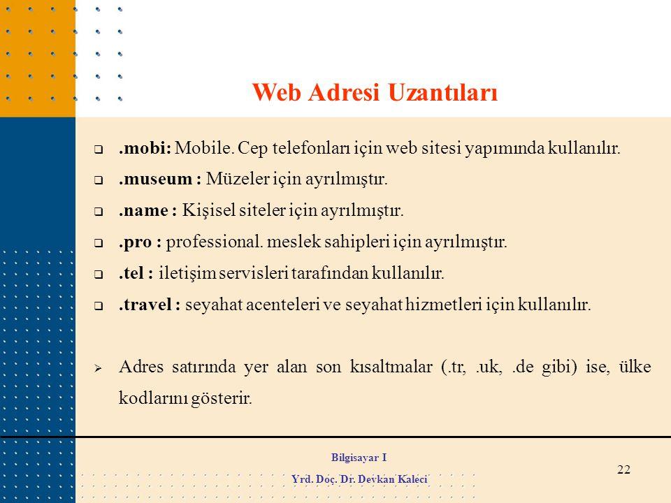 22 Web Adresi Uzantıları .mobi: Mobile. Cep telefonları için web sitesi yapımında kullanılır. .museum : Müzeler için ayrılmıştır. .name : Kişisel s