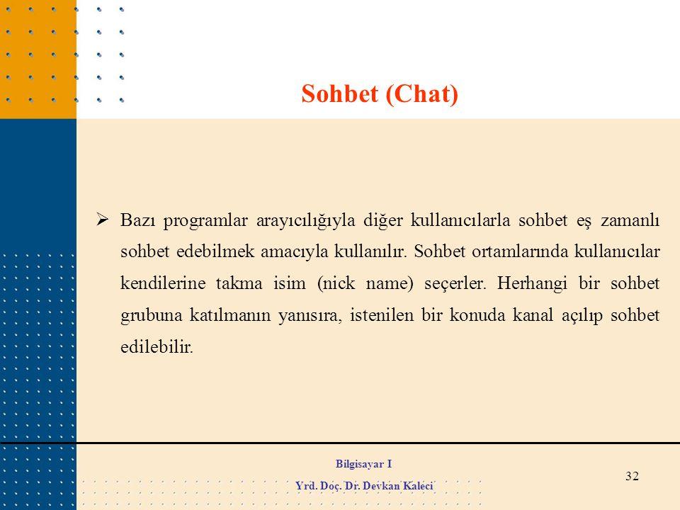 32  Bazı programlar arayıcılığıyla diğer kullanıcılarla sohbet eş zamanlı sohbet edebilmek amacıyla kullanılır. Sohbet ortamlarında kullanıcılar kend