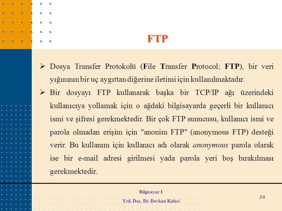 34  Dosya Transfer Protokolü (File Transfer Protocol; FTP), bir veri yığınının bir uç aygıttan diğerine iletimi için kullanılmaktadır.  Bir dosyayı