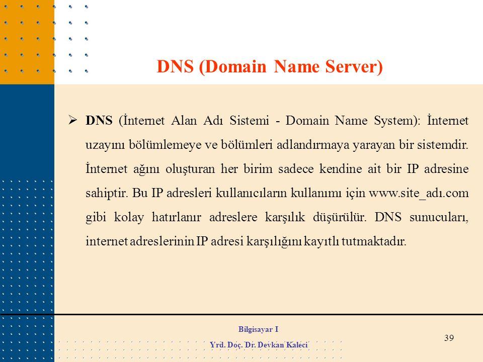 39  DNS (İnternet Alan Adı Sistemi - Domain Name System): İnternet uzayını bölümlemeye ve bölümleri adlandırmaya yarayan bir sistemdir. İnternet ağın