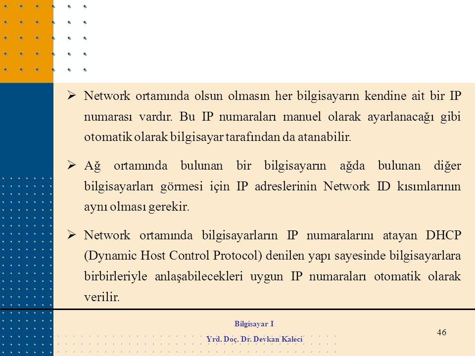 46  Network ortamında olsun olmasın her bilgisayarın kendine ait bir IP numarası vardır. Bu IP numaraları manuel olarak ayarlanacağı gibi otomatik ol