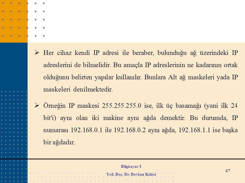 47  Her cihaz kendi IP adresi ile beraber, bulunduğu ağ üzerindeki IP adreslerini de bilmelidir. Bu amaçla IP adreslerinin ne kadarının ortak olduğun