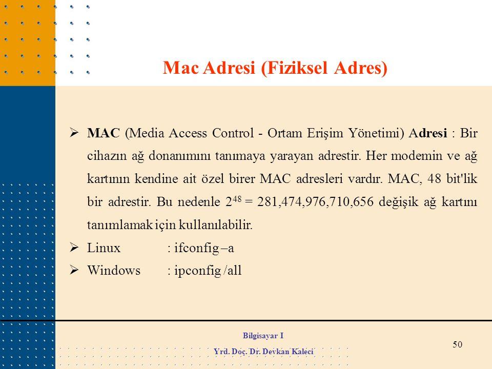 50  MAC (Media Access Control - Ortam Erişim Yönetimi) Adresi : Bir cihazın ağ donanımını tanımaya yarayan adrestir. Her modemin ve ağ kartının kendi