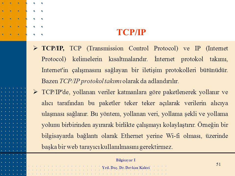 51  TCP/IP, TCP (Transmission Control Protocol) ve IP (Internet Protocol) kelimelerin kısaltmalarıdır. İnternet protokol takımı, Internet'in çalışmas