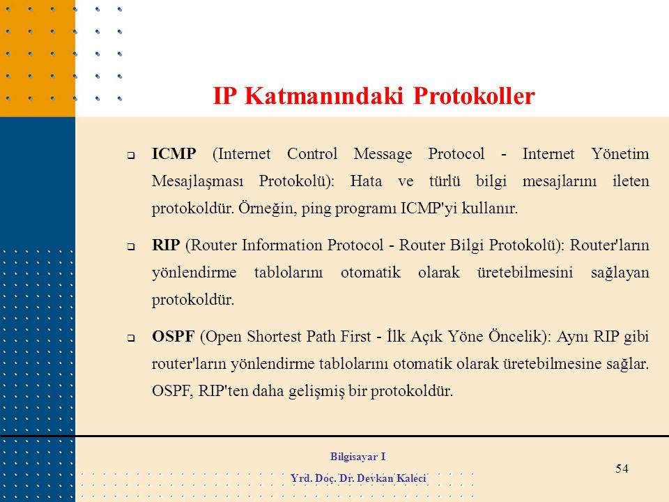 54  ICMP (Internet Control Message Protocol - Internet Yönetim Mesajlaşması Protokolü): Hata ve türlü bilgi mesajlarını ileten protokoldür. Örneğin,