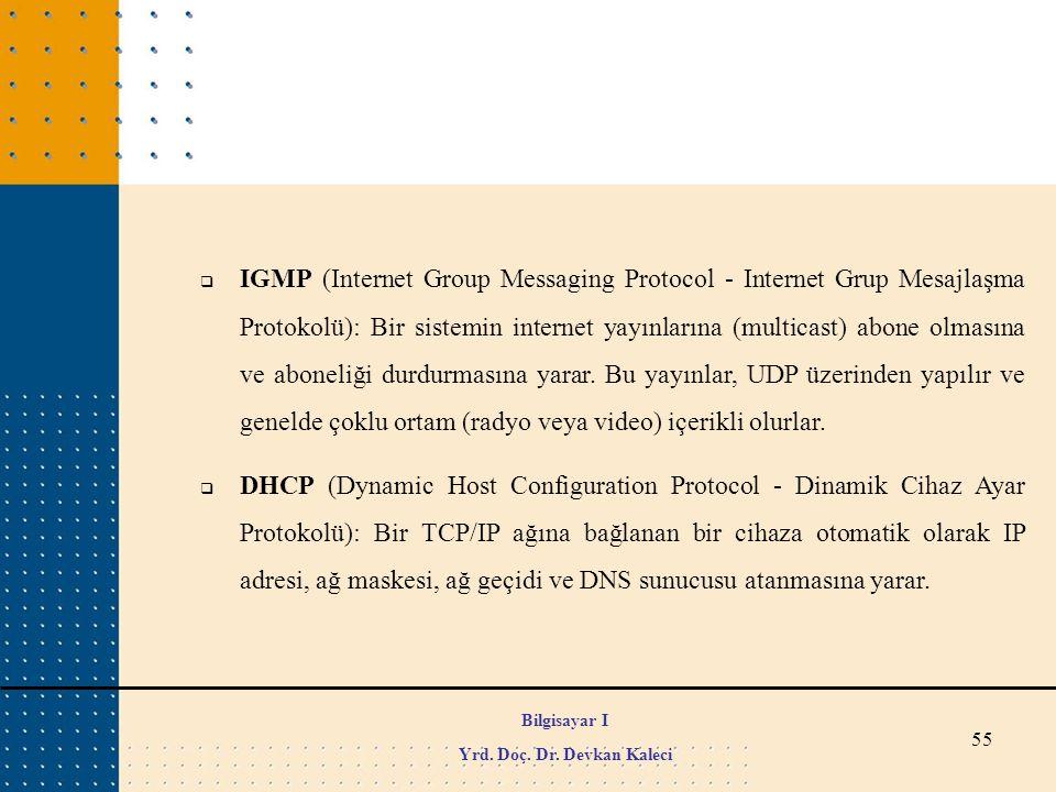 55  IGMP (Internet Group Messaging Protocol - Internet Grup Mesajlaşma Protokolü): Bir sistemin internet yayınlarına (multicast) abone olmasına ve ab