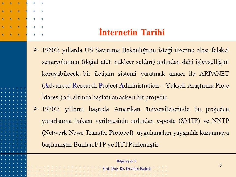 57  DNS (Domain Name System - Alan Adı Sistemi): Alan adı verilen isimler (mesela www.wikipedia.org) ile IP adreslerini birbirine bağlayan sistemdir.