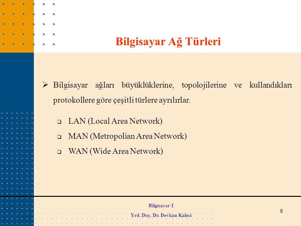 8 Bilgisayar Ağ Türleri  Bilgisayar ağları büyüklüklerine, topolojilerine ve kullandıkları protokollere göre çeşitli türlere ayrılırlar.  LAN (Local