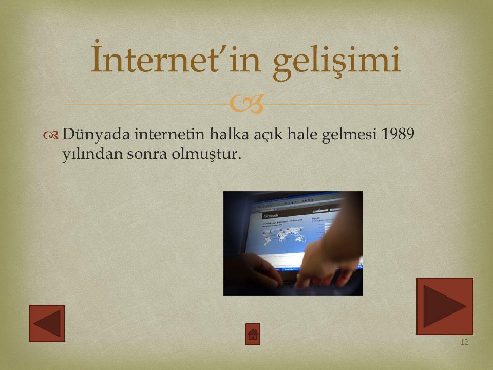   Dünyada internetin halka açık hale gelmesi 1989 yılından sonra olmuştur.