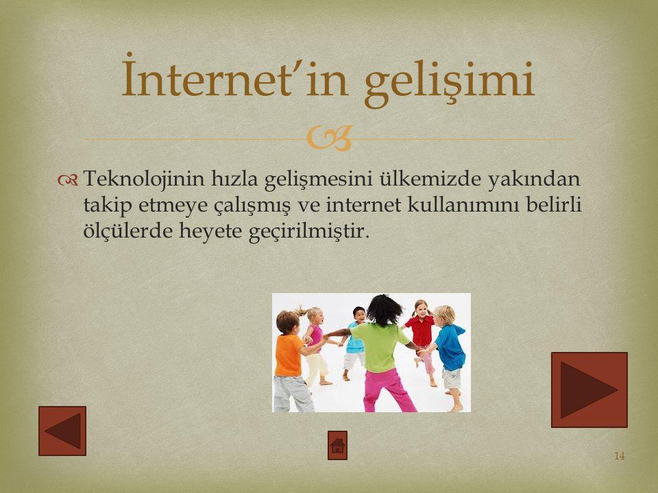   Teknolojinin hızla gelişmesini ülkemizde yakından takip etmeye çalışmış ve internet kullanımını belirli ölçülerde heyete geçirilmiştir.